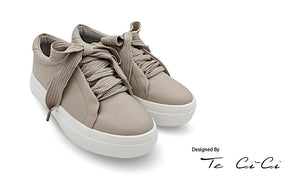 Platform Sneakers With Hemp Rope Inspired Shoelace