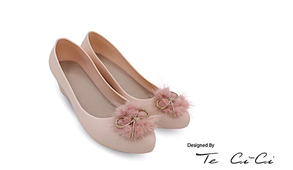 Jelly Shoes With Furry Bow
