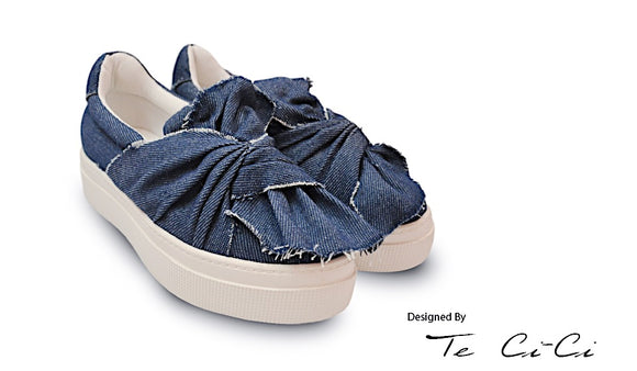 Denim Platform Sneakers With Deconstructed Knot