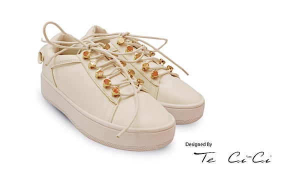 Stylish Sneakers With Golden Studs