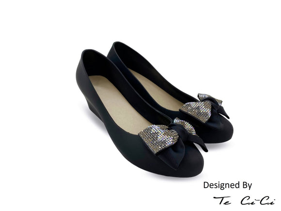 Glittery Bow Jelly Shoes