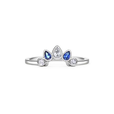 Diamond Sapphire Crown Ring