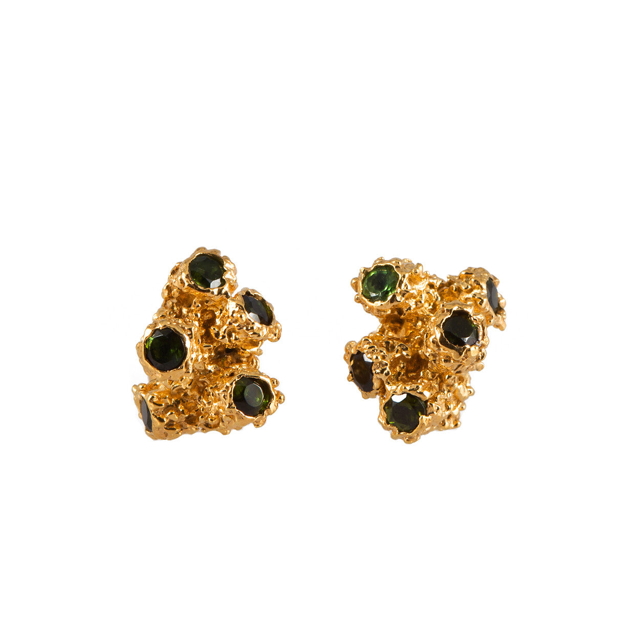 CORAL <p>gold earrings with tourmalines</p>