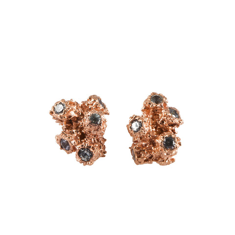 CORAL rose gold earrings with white sapphires