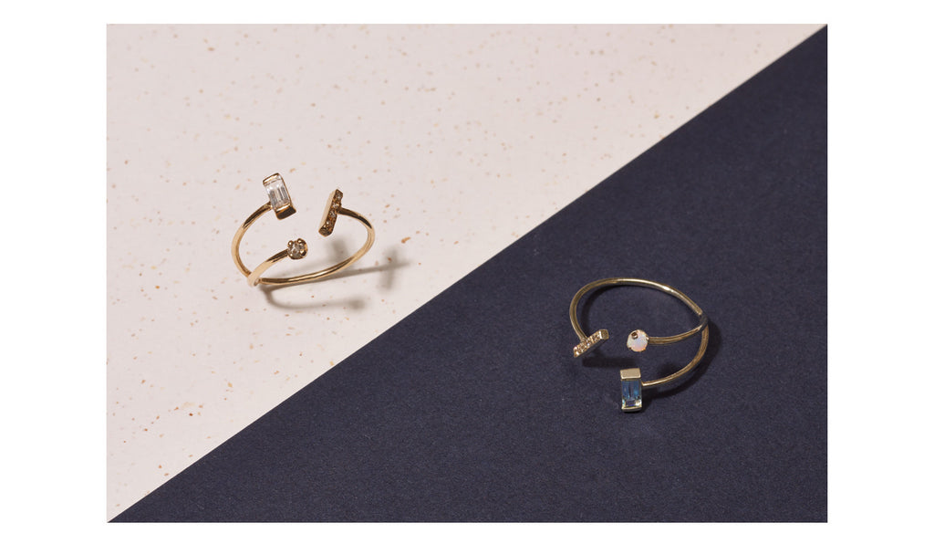 CONFETTI <p>18k gold three claw ring with mixed gems</p>