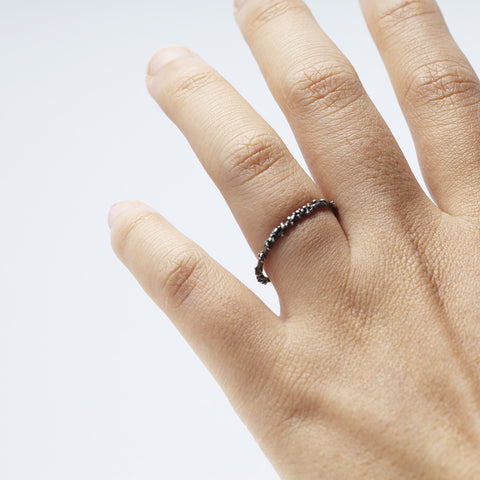 ENCRUSTED silver stacking ring