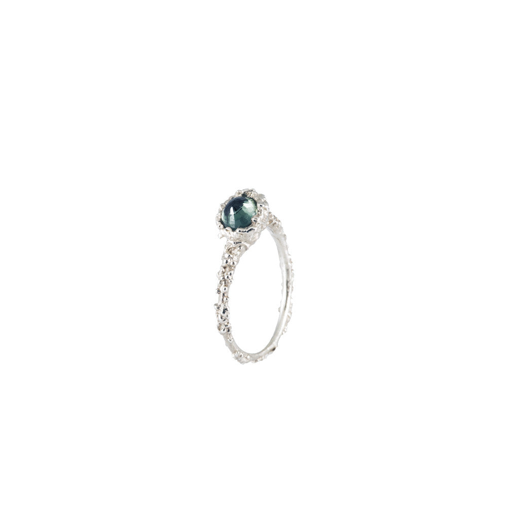BLOOM <p>white gold and green sapphire ring</p>