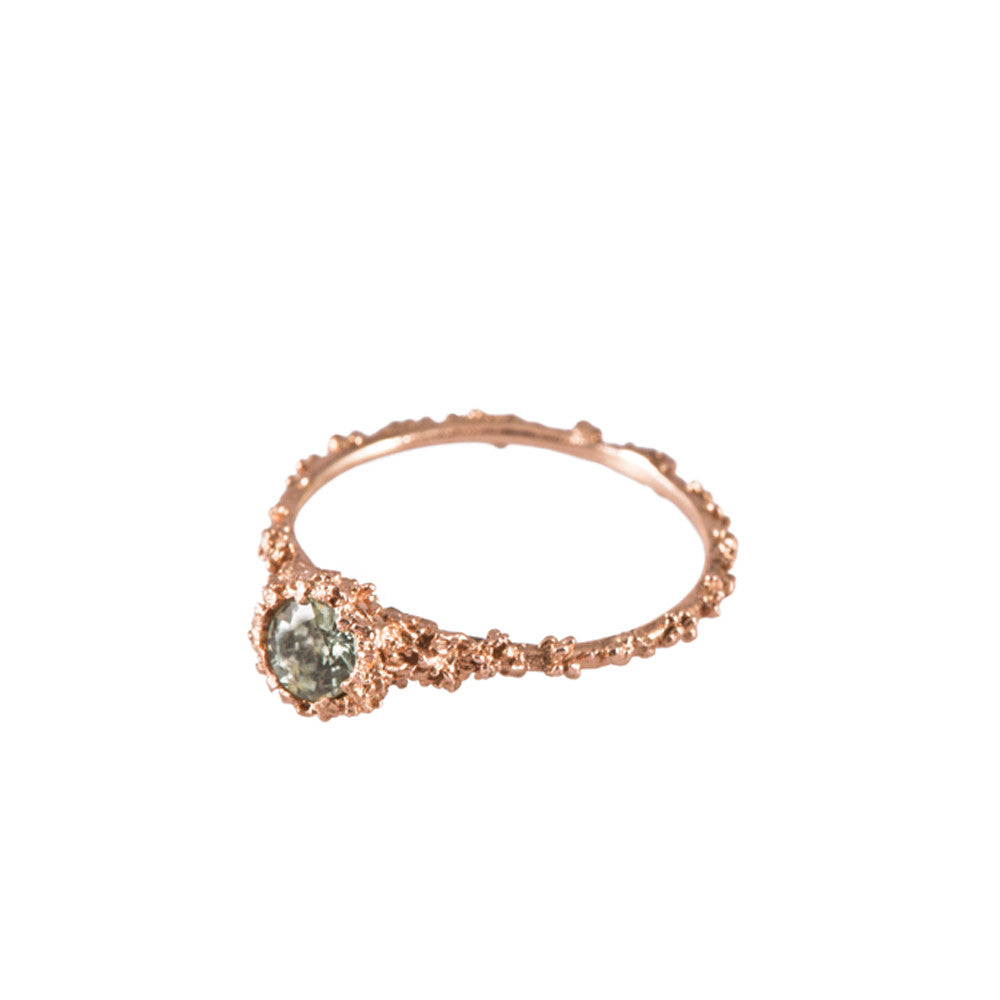 CAVERN <p>rose gold and green sapphire engagement ring</p>