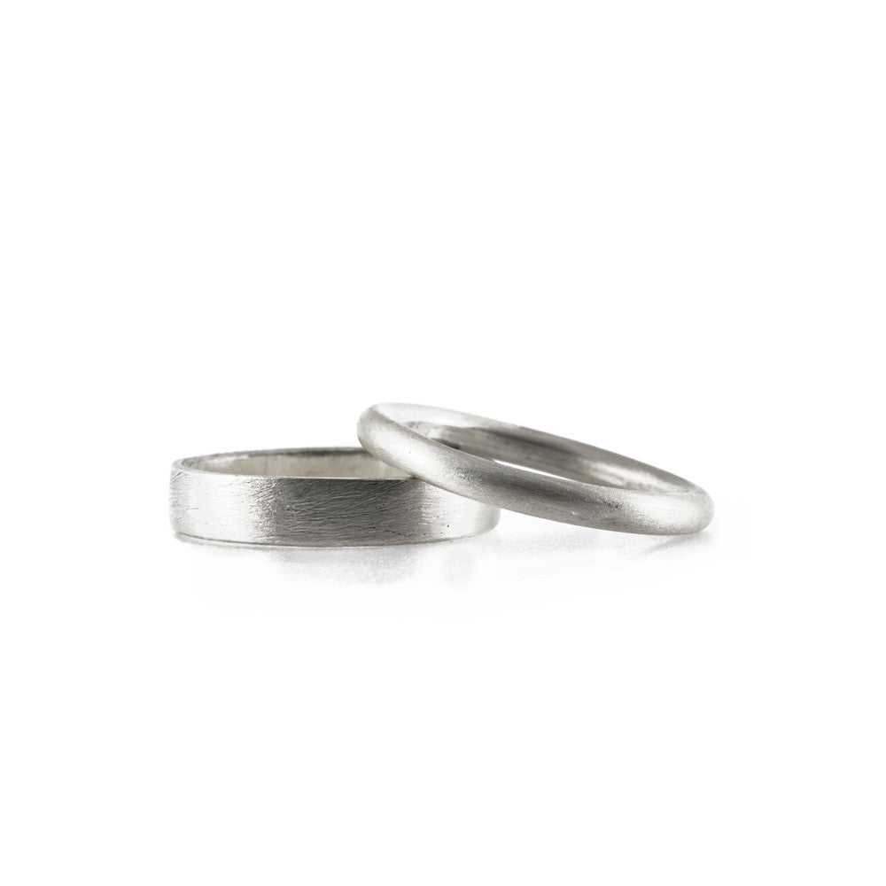 Wedding Band Set<p>white gold flat and round rings</p>