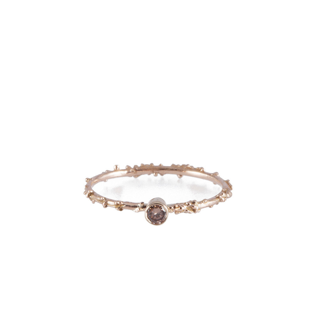PETITE <p>rose gold and diamond engagement ring</p>