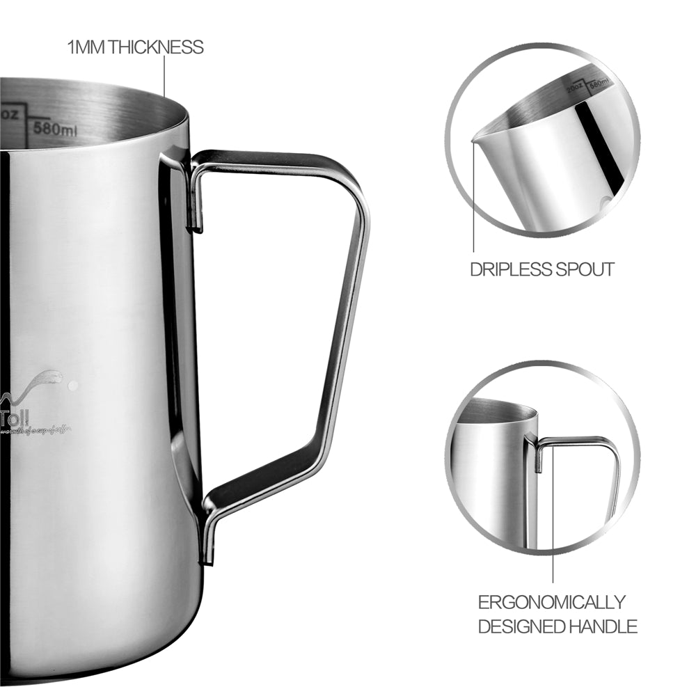 Stainless Steel Milk Frothing Pitcher Gift Box - The Coffee Cache