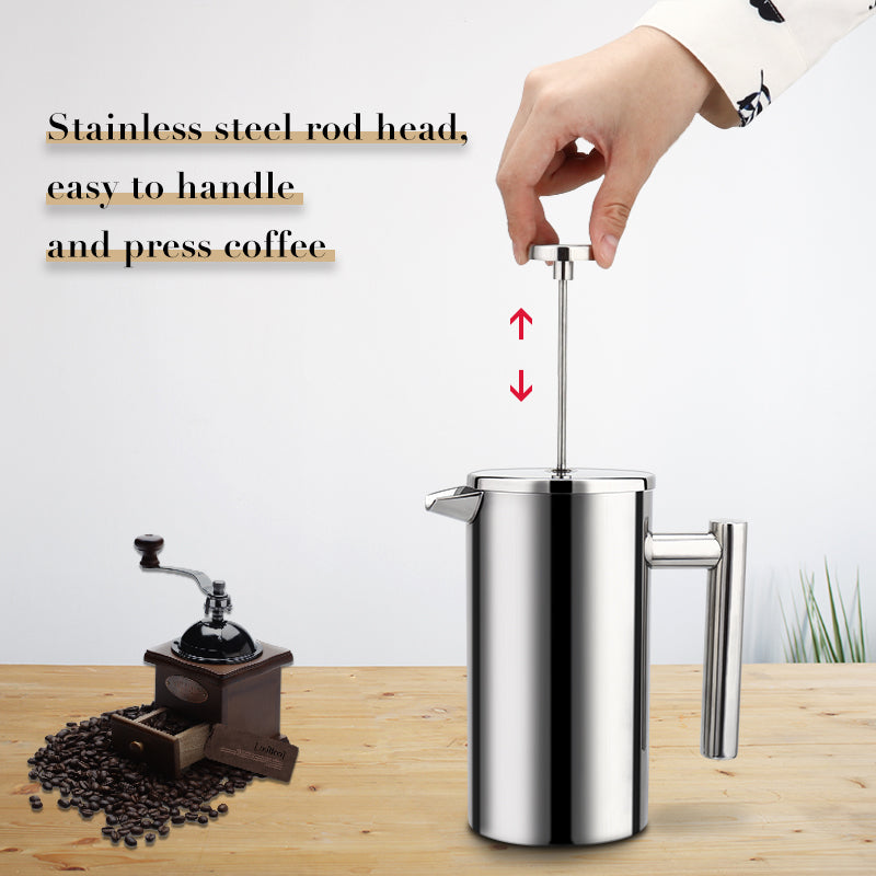 Stainless Steel French Press Coffee Maker - The Coffee Cache