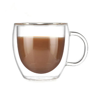 Open image in slideshow, Double Insulated Glass Coffee Mugs with Handle - The Coffee Cache