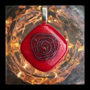 elfin alchemy cosmic spiral red fused glass pendant