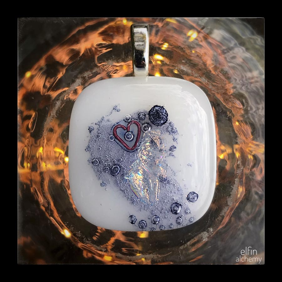 elfin alchemy heart design large white fused glass pendant handcrafted in Lancashire