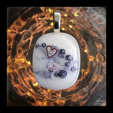 Load image into Gallery viewer, elfin alchemy unique wearable works of art, with heart inclusion white fused glass pendant