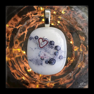 elfin alchemy unique wearable works of art, with heart inclusion white fused glass pendant