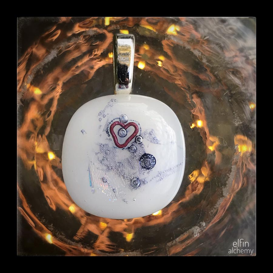 elfin alchemy unique abstract medium-small white glass with heart pendant handcrafted for you in Lancashire