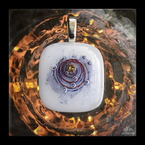 elfin alchemy cosmic spiral white fused glass pendant