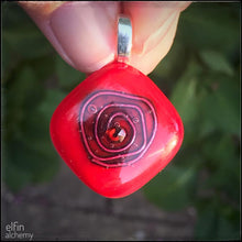 Load image into Gallery viewer, elfin alchemy cosmic spiral red fused glass pendant