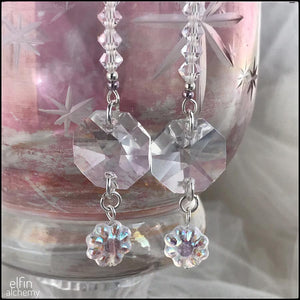 set of 2 crystal light-catcher decorations silver