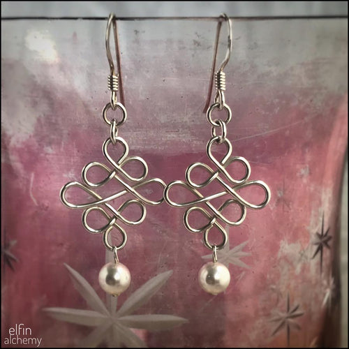 elfin alchemy sculptural beaded wirework earrings inspired by the magical art of our ancestors, sterling silver and white Swarovski pearl bead