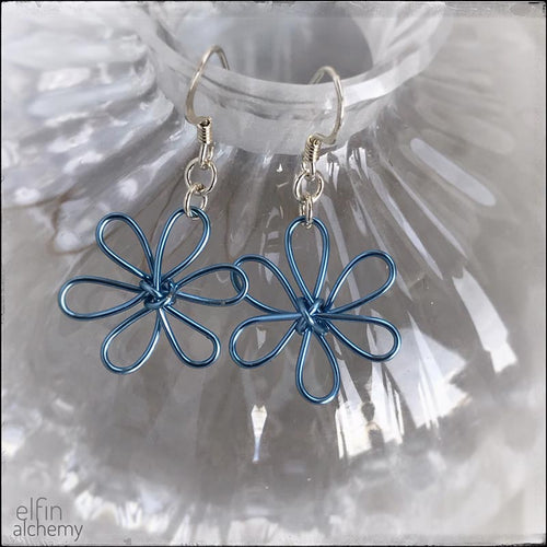 elfin alchemy blue sculptural flower design earrings, inspired by the magical art of our ancient ancestors