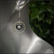 Load image into Gallery viewer, hematine Swarovski flower silver hoop earrings