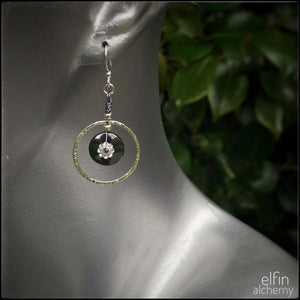 hematine Swarovski flower silver hoop earrings