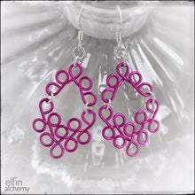 Load image into Gallery viewer, elfin alchemy sculptural scroll style earrings in fuchsia pink, inspired by the magical art of our ancient ancestors