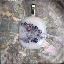 Load image into Gallery viewer, elfin alchemy unique with heart inclusion white fused glass pendants
