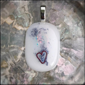 elfin alchemy unique with heart inclusion white fused glass pendants long