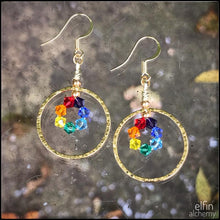 Load image into Gallery viewer, rainbow chakra colours gold hoop statement earrings