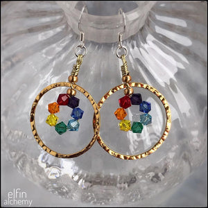 rainbow chakra colours gold hoop statement earrings