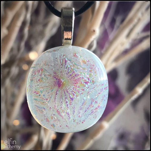 elfin alchemy unique white sparkles glass pendant handcrafted for you in Lancashire