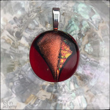 Load image into Gallery viewer, elfin alchemy zing sparkles fused glass pendants in vivid red and copper tones with magical sparkle