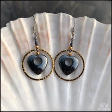 Load image into Gallery viewer, gorgeous gold hoop earrings with hematine heartne gemsto designed and handcrafted by elfin alchemy