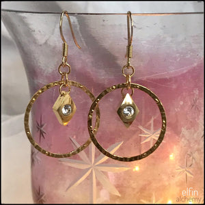 elfin alchemy gold hoop earrings with Swarovski crystal charms handcrafted in Lancashire