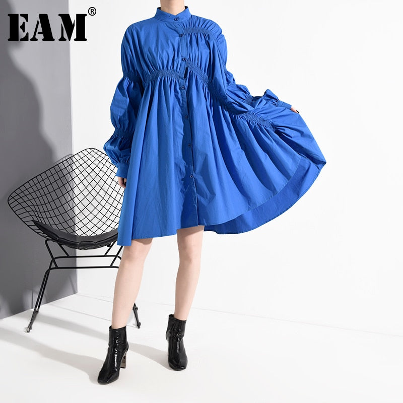[EAM] Women Blue Pleated Big Size Shirt Dress New Stand Collar Long Sleeve Loose Fit Fashion Tide Spring Autumn 2020 1K93705