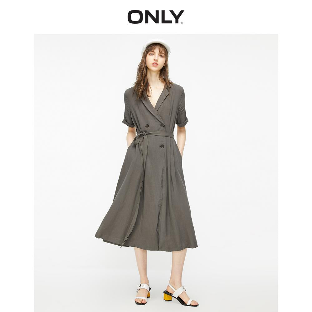ONLY Women's Pure Color Tailored Collar Cinched Waist Dress | 119207508