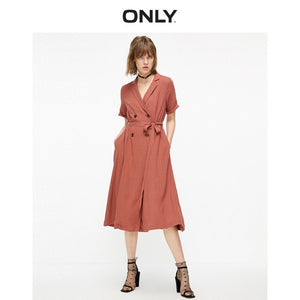 Open image in slideshow, ONLY Women's Pure Color Tailored Collar Cinched Waist Dress | 119207508