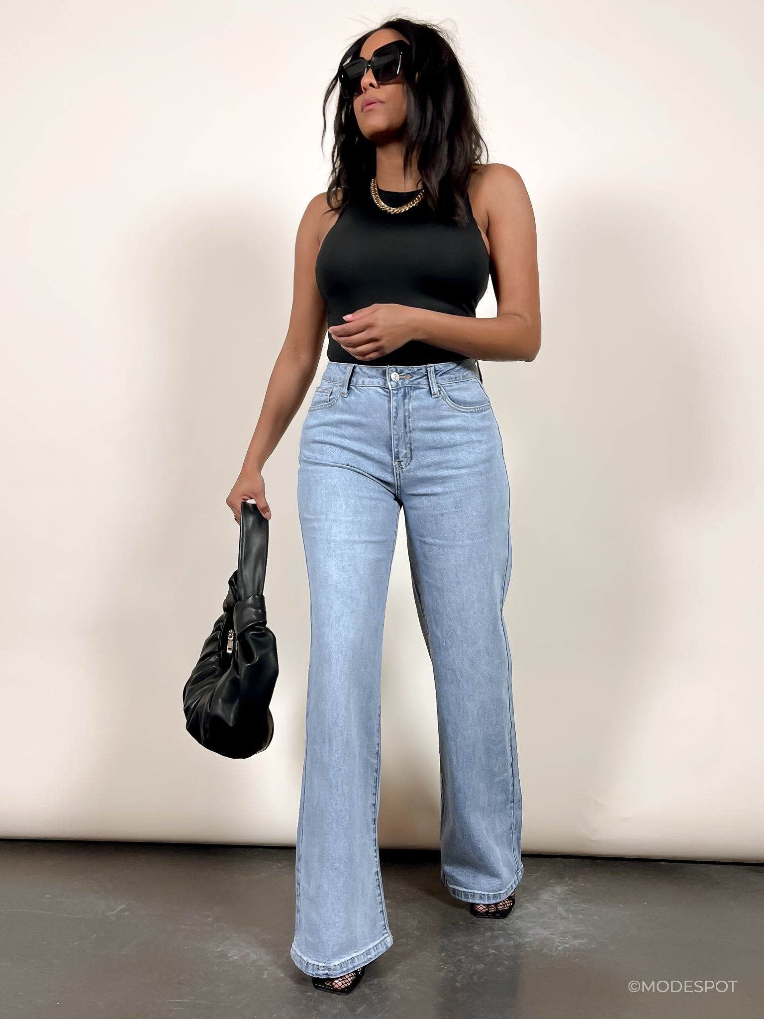 'Cindy' High Waist Wide Leg Washed Denim