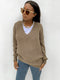 Deep V-neck knitted jumper