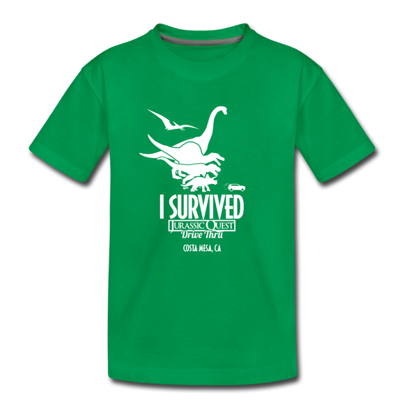 I Survived Jurassic Quest Drive Thru Costa Mesa, CA - Youth T-Shirt - kelly green