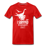 I Survived Jurassic Quest San Diego - Adult T-shirt - red