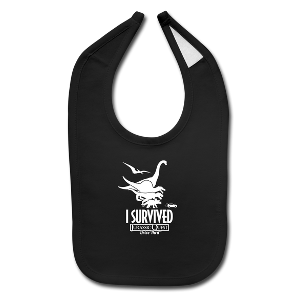 I Survived Jurassic Quest Drive Thru Bib - black