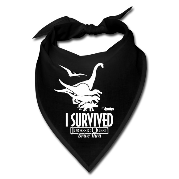 I Survived Jurassic Quest Drive Thru Bandana - black