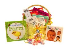 book gift basket with simple concept books for baby