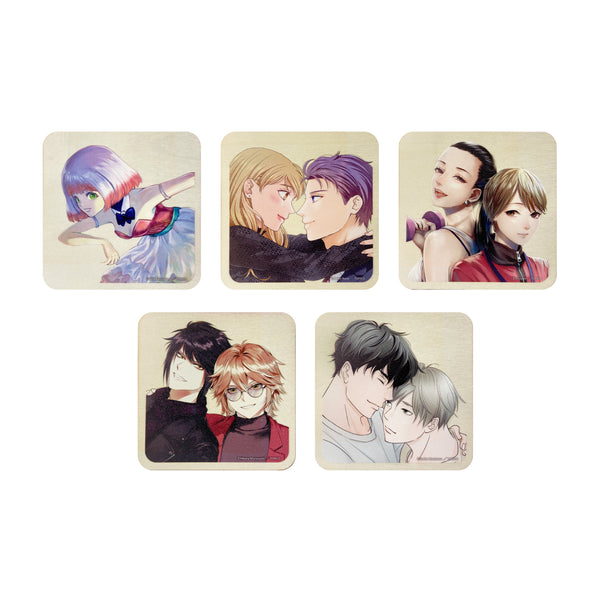 MANGA.CLUB Original titles wood coaster Set of 5 MANGA.CLUB オリジナル作品木製コースター5枚セット