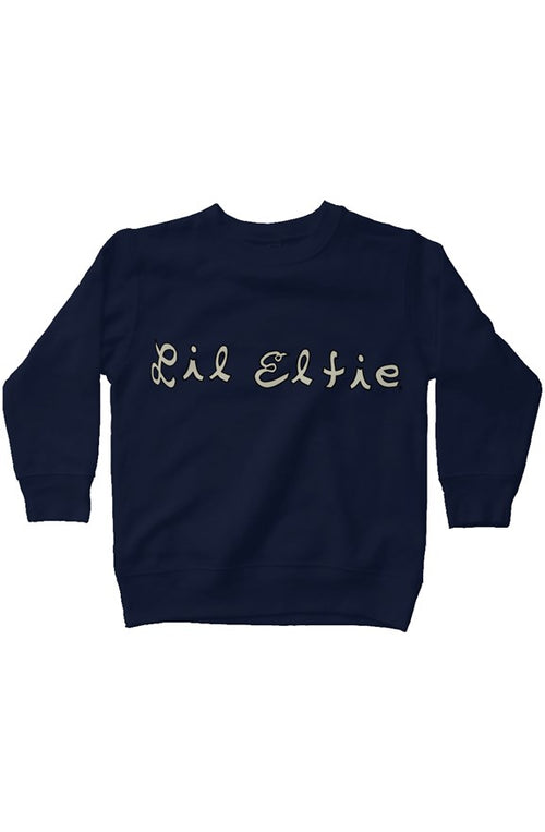 Lil Elfie with Logo on Navy Kids Fleece Sweatshirt